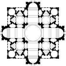 Bramate'nin yaptığı San Pietro Kilisesi Planı - Michelangelo ve Raffaello'nun Garip Hikayesi