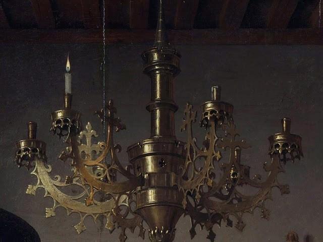 Jan van Eyck : Arnolfini'nin Evlenmesi - Tablodaki Avize Ayrıntısı
