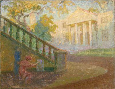 Hüseyin Avni Lifij - Arkeoloji Müzesi Bahçesinde Öğrenciler / Türk Resim Sanatı - 1914 Kuşağı (Çallı Kuşağı)