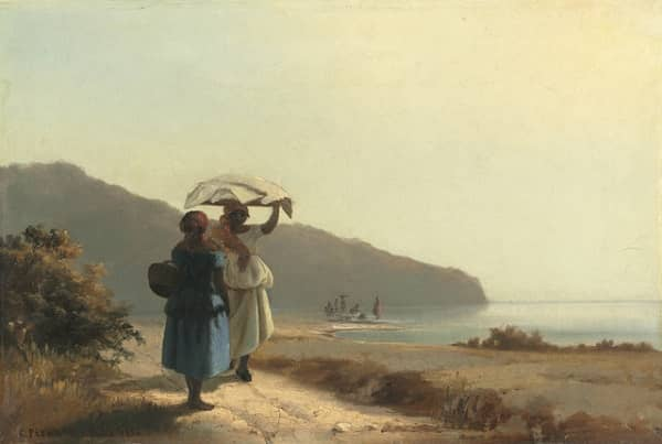 Two Women Chatting By The Sea - Pissarro | 6 Famous Paintings You Should Know